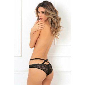 SpendWithJen Intimates & Sleepwear - Black Crotchless Lace Black Panty Lingerie